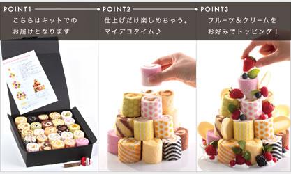 25種ロールケーキタワー通販キット4段(25個入り)
