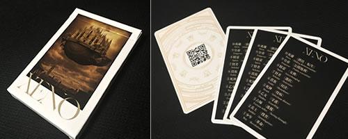 カードゲーム「XENO」のパッケージと付属カード