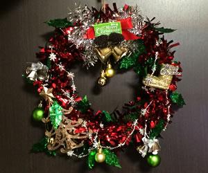 簡単な手作りクリスマスリース「完成」