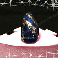 着物用ネイル「黒と青の組み合わせデザイン 5」