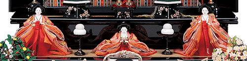 雛人形 七段飾りの飾り方「2段目:三人官女」